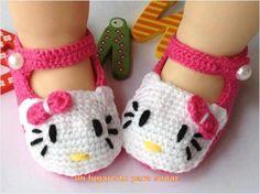 Zapatitos en Crochet para Bebe - Hello Kitty