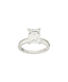 3.0-tw Diamonique® & Sterling Silver Emerald-Cut Solitaire Ring