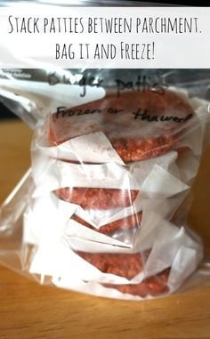 These make ahead hamburger patties are easy to put together and have great flavor. The patties freeze nicely making it a quick and easy freezer meal. Freezable Meals, Make Ahead Freezer Meals, Freezer Cooking, Cooking Recipes, Freezable Appetizers, Beef Recipes, Cooking Tips, Easy Meals, Freezer Recipes