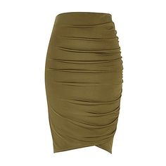 Khaki ruched wrap pencil skirt ❤ liked on Polyvore featuring skirts, jersey knit pencil skirt, brown pencil skirt, gathered skirt, khaki pencil skirt and pencil skirt