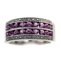 Antique Style Pink Sapphire 14 K White gold Channel Set and Diamond Wedding Band c 1990's