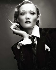 Apparently, Russell's passion for severe skirts and menswear inspired Marlene Dietrich a decade down the road.