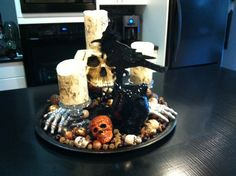 Kitchen island centrepiece ....made my flawless candles look like birch with wrapping paper