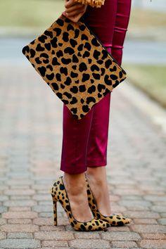 The perfect combo of #LeopardPrint and #burgundy. #animalprint