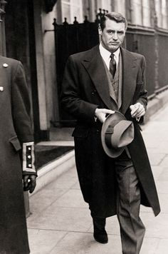 A well dressed man. stunning!   Cary Grant exiting Claridge's Hotel in London, 1946 http://questmag.com/winter-2015/