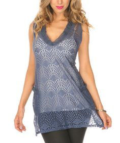 Take a look at this Blue Crocheted Sleeveless Top by Lily on #zulily today!