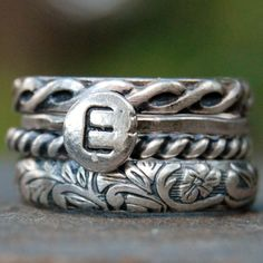 Sterling Silver - Stacking Ring Set of 4 - Monogram - Your Size. $96.00, via Etsy.