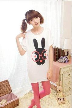 White Oversize T-Shirt With Cute Rabbit Print Korean Summer Collection