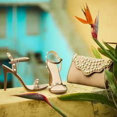 Rise and shine in your khaki satin high heeled sandals with pearls and khaki clutch with pearls! Retro Summer, Heeled Sandals, Loafers, Satin, Pumps, Pearls, Boots, Campaign, Accessories