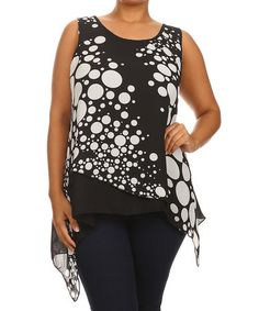 Another great find on #zulily! Black & White Abstract Dot Layered Sidetail Tank - Plus #zulilyfinds
