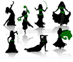 bellydance | Belly dance. Silhouettes of beauty dancers. — Stock Vector © Yuri ...