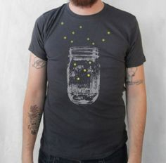 Hand screen printed fireflies tee from Kinship Press on #Etsy