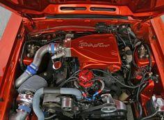 Foxbody Mustang engine bay