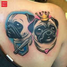 Shoulder pug tattoo by Lysette Knippers - http://www.luckypug.com/gallery/back-shoulder-pug-tattoos/