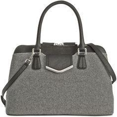 Calvin Klein On My Corner Wool Satchel ($228) ❤ liked on Polyvore featuring bags, handbags, gray purse, black satchel, calvin klein purse, calvin klein and black satchel purse