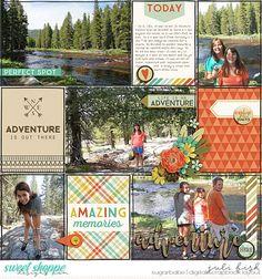 Perfect Spot: Yosemite Pocket Scrapbook Style layout by Juli Fish. Credits…