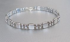 Zilveren armband czechmate kralen beaded jewelry door beadnurse