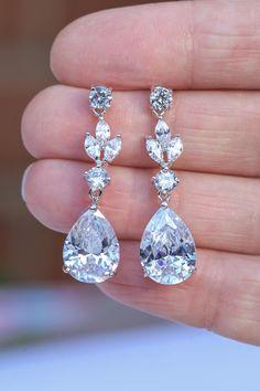 Art Deco Earrings, Great Gatsby 1920s Crystal Earrings, Wedding Earrings, Bridal Jewelry, Teardrop Wedding Jewellery, Bridal Earrings https://etsy.me/2pDTJOh #weddings #jewellery #clear #silver #women #artdeco #dangleearrings #dropearrings #birthdaygift