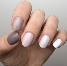 5 Shades Of Grey Kit – Olive and June Cute Short Nails, Short Gel Nails, Hair And Nails, My Nails, Cute Shellac Nails, Neutral Gel Nails, Taupe Nails, Gel Manicures, Olive And June
