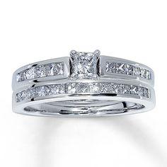 Diamond Bridal Set 1 ct tw Princess-cut 14K White Gold. Perfection.  Probably my dream set.