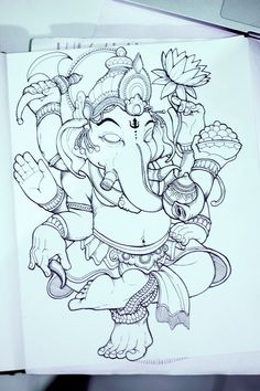 Ganesha by Bayu A. Wiguna, via Behance Mehr Ganesha Drawing, Ganesha Painting, Ganesha Art, Shri Ganesh, Ganesh Tattoo, Art Minimaliste, Catrina Tattoo, Geniale Tattoos, Indian Art Paintings