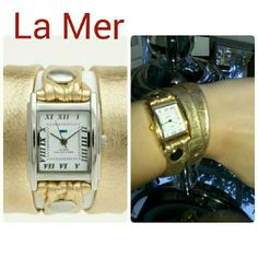 Authentic La Mer Gold Strap watch ShopBop. Preowned la mer watch purchased from shopbop last year. Needs new battery. La Mer Accessories Watches