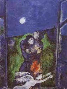 Marc Chagall, Ερωτευμένοι στο φως του φεγγαριού. 1938. Ιδιωτική Συλλογή.