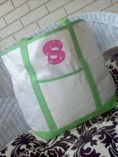 Initial Appliqued Canvas Tote Bags by OhSewYummy on Etsy