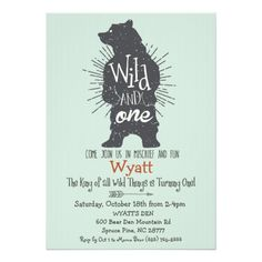 Wild Thing Big Bear First 1st Birthday Invitation