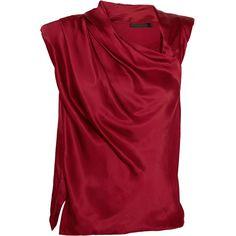 Donna Karan Draped satin top ($385) ❤ liked on Polyvore featuring tops, shirts, blouses, blusas, claret, drapey top, donna karan tops, red shirt, drapey shirt and satin top