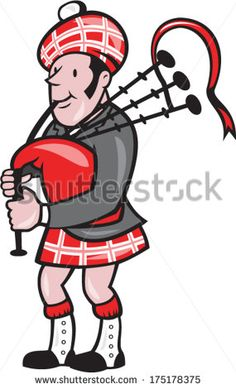 Illustration of a Scotsman bagpiper playing bagpipes viewed from side set on isolated background done in cartoon style. - stock vector #bagpipe #cartoon #illustration