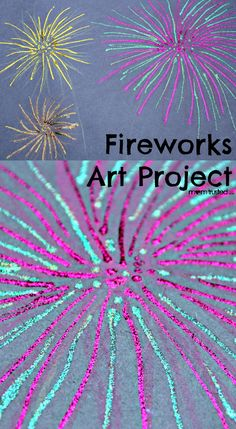Fireworks art project for your kids on the of july! Firework Nail Art, Fireworks Art, Wedding Fireworks, Firework Art Ks1, Firework Painting, Projects For Kids, Art Projects, Crafts For Kids, July Crafts