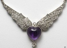 An Art Deco amethyst and diamond pendant,ca 1920