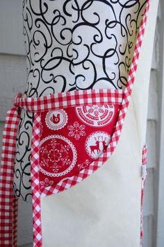 Inside pocket on apron- bandana print with gingham