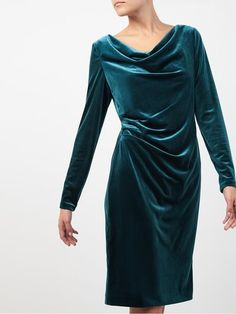Jacques Vert velvet cowl dress