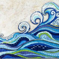 Sea waves on my father's gravestone. It was a labor of love. Ceramic tiles.