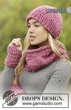 Вязаный спицами простой теплый комплект из шапки, снуда и митенок