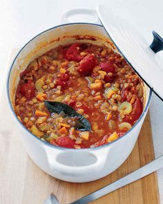Pair lentils with your favorite vegetables to make this flavorful, hearty soup from Martha Stewart. There's no better way to warm up on a cold day than with a lentil soup. Add up to a cup more water if the lentil soup becomes too thick during cooking. Vegetarian Chili, Vegetarian Recipes, Cooking Recipes, Vegetarian Soups, Healthy Recipes, Healthy Foods, Frugal Recipes, Vegan Chili, Savoury Recipes
