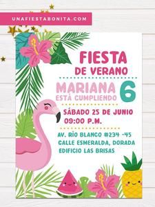 Tropical flamenco and pineapple summer invitation, pineapple, flamenco, tropical and summer themed i Aloha Party, Luau Party, Flamenco Party, Baby Showers, Flamingo Rosa, Flamingo Birthday, Tropical Party, Party Invitations, Party Time