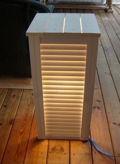 Repurposed shutters or folding closet doors, deck lighting, side table, DIY Repurposed Furniture, Diy Furniture, Furniture Design, Folding Closet Doors, Recycled Decor, Recycled Crafts, Shutter Projects, Old Shutters, Vintage Shutters