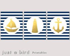 Nautical blue stripe and gold