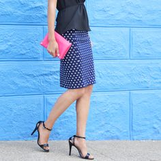 love this top for wearing with pencil skirt without having to tuck. Peplum tops are sometimes too wide/open at the bottom