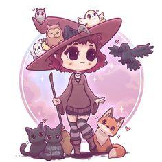 ❤️✨ As part of my chibi founders series! Only Helga left! Cute Kawaii Drawings, Cute Animal Drawings, Kawaii Art, Kawaii Anime, Kawaii Halloween, Halloween Halloween, Anime Chibi, Witch Drawing, Desenhos Harry Potter