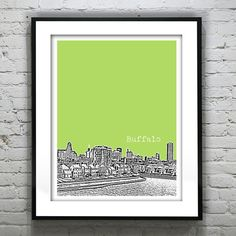 Buffalo+New+York+Poster+Art+Skyline+Print+NY+by+AnInspiredImage,+$19.00