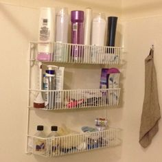 Use a wire kitchen organizer with Command hooks for super shower storage!