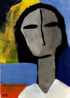 unbidden e9Art ACEO Outsider Folk Art Brut Painting Abstract Portrait Figurative Expressionism