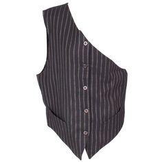 Men's One Shoulder Vest ❤ liked on Polyvore featuring men's fashion, men's clothing, men's outerwear, men's vests, mens vest outerwear, mens vest, mens pinstripe vest and mens silk vest