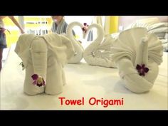 Folding Towels Art DIY How to Make Elephant Dog Swan & More from Towel Hotels Room Service Thailand - YouTube