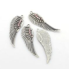Angel Wing Light Rose Rhinestone Pendant  by CarolinaFindingsEtc