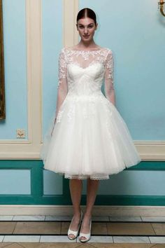 Short Tail Wedding Dress With Lace Sleeves And Tulle Skirt By Truly